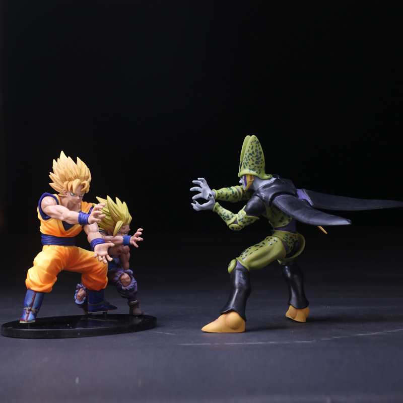 Dragon Z Ball Cell Vs Son Goku And Son Gohan Pvc Action Figure Model Toy Super Saiyan Battle Display Toy Cartoon Birthday Gift dragon ball z son goku vs broly super saiyan pvc action figures dragon ball z anime collectible model toy set dbz