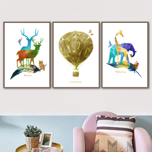 Watercolor Deer Owl Rabbit Giraffe Wall Art Canvas Painting Nordic Posters And Print Animal Pictures For Living Room Decor