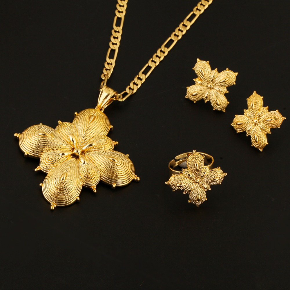 Ethiopian Jewelry Set 24k Gold Plated