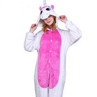 Pink Unicorn Pajamas Sets Flannel Cute Cartoon Animal Pajamas Sets Winter Super Soft Flannel Nightie Onesize