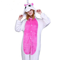 Pink Unicorn Pajamas Sets Flannel Cute Cartoon Animal Pajamas Sets Winter Super Soft Flannel Nightie Onesize