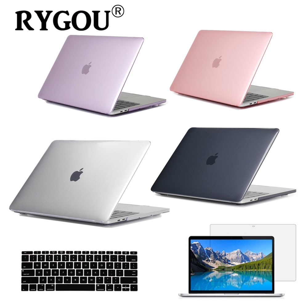 RYGOU Crystal Clear Case For Apple Macbook Air Pro Retina 11 12 13 15 Kas komputer riba untuk buku Mac 11.6 13.3 15.4 inci