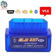 Boa qualidade Super Mini Bluetooth V1.5 ELM327 OBD2 Leitor de Código de Auto Mini 327 Car interface de diagnóstico ELM 327 Bluetooth