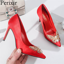 2019 New Wedding Shoes Fashion Thin Heels Pointed Toe Women Pumps Crystal Super High with Shallow Single Shoes for Ladies Red цены онлайн