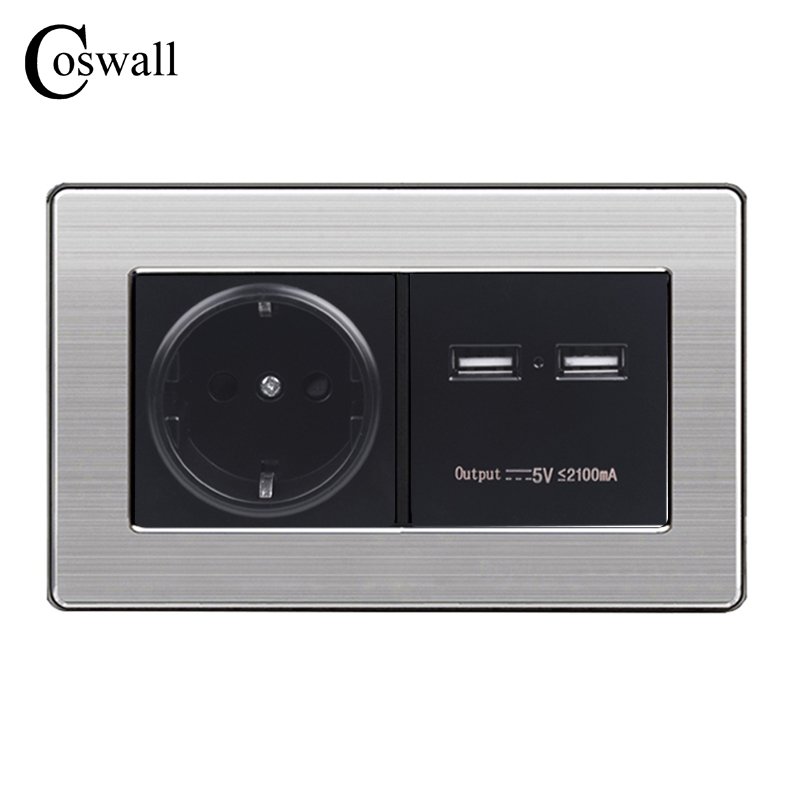 COSWALL Wall Socket EU Standard Power Outlet With Dual USB Smart Induction Charge Port For Mobile 5V 2.1A Stainless Steel Panel coswall wall socket uk standard power outlet switched with dual usb charge port for mobile 5v 2 1a output stainless steel panel
