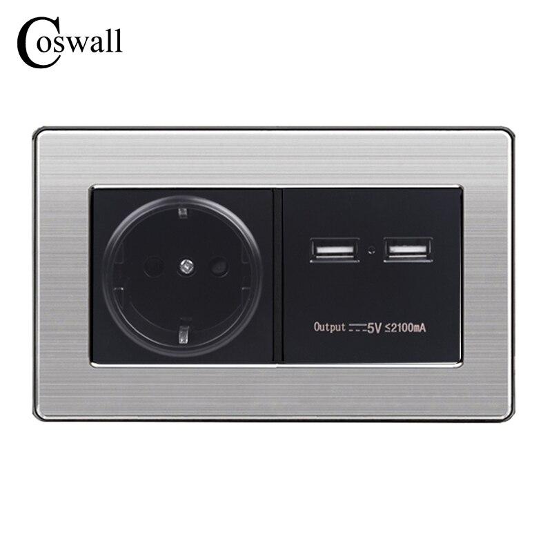 COSWALL enchufe de pared EU estándar de alimentación con doble USB inteligente inducción carga para móvil 5 V 2.1A inoxidable panel de acero