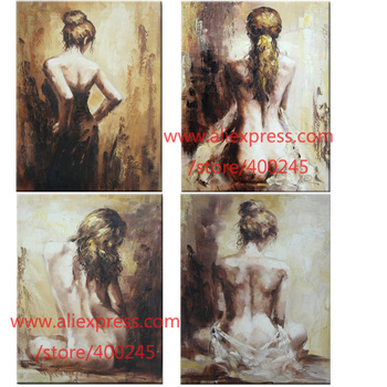 100% hand painted oil painting canvas Abstract Figure paintings Female Sexy Girls Lady back Modern art for bedroom decor