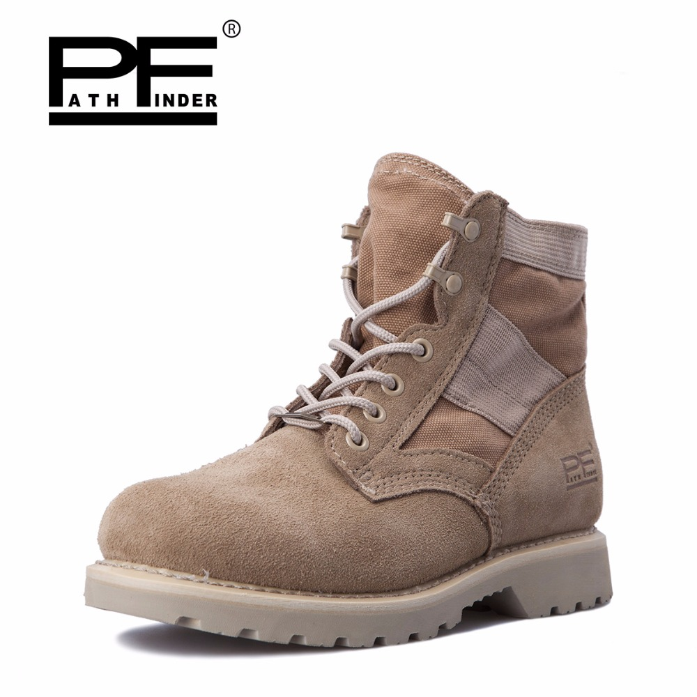 Pathfind Mens safety Leather Martin man Army Tooling military desert Boots Men Outdoor high styles sport Shoes Retro men Boots maritime safety