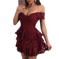 Wine Red Lace Dress Women Summer Short Sleeve Hollow Out Ruffle Layered Dress Black Sexy Off