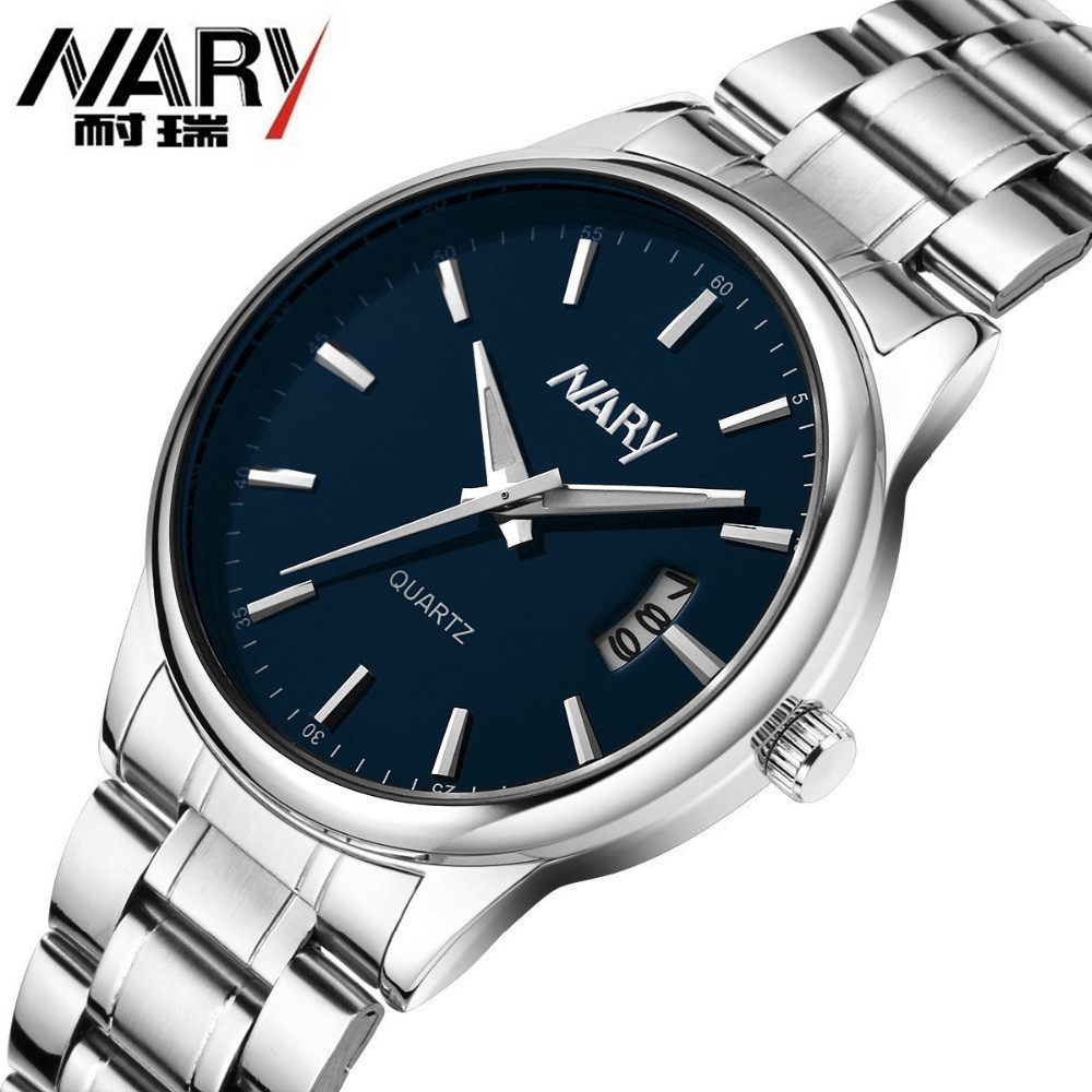 Nary Brand Luxury Fashion Watch Men Stainless Steel Band Complete Calendar Business Casual Wristwatch Clock Relogio