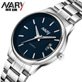 Nary Brand Luxury Fashion Watch Men Stainless Steel Band Complete Calendar Business Casual Wristwatch Clock Relogio Masculino