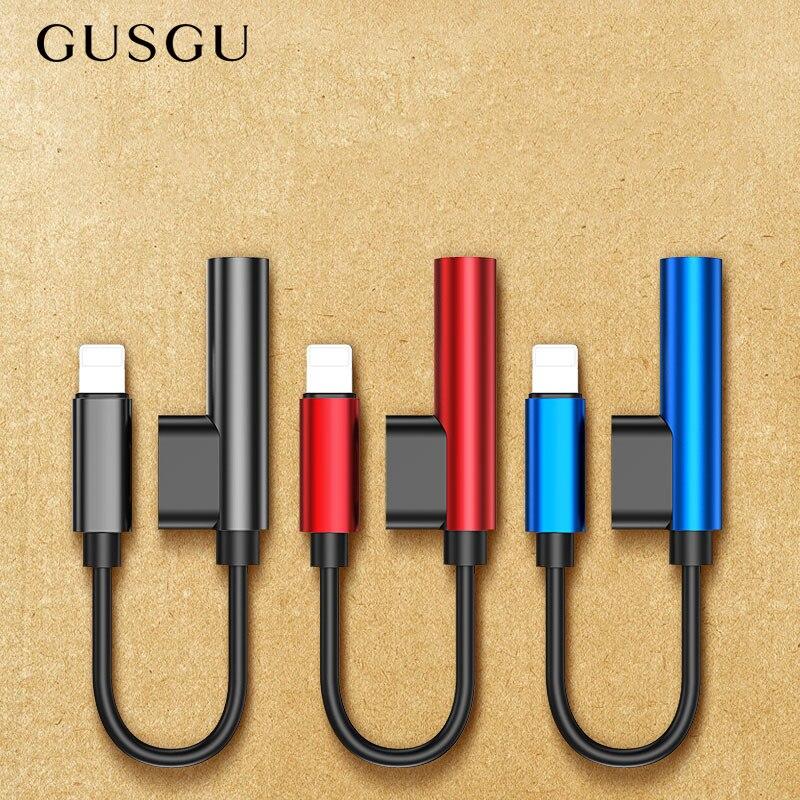 GUSGU Aux аудио кабель адаптер для iPhone 7 наушники 2 в 1 для освещения до 3,5 мм Jack адаптер для наушников для iPhone 7 Plus