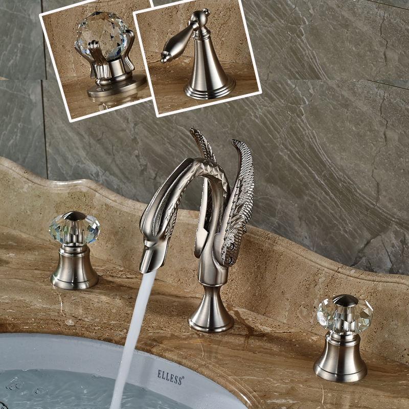 Brushed Nickel Dual Handle Bathroom Basin Sink Faucet Deck Mounted Swan Hot and Cold Water Mixer taps wall mounted bathroom mixer taps free shipping hot and cold washing basin water sink faucet two hole one handle