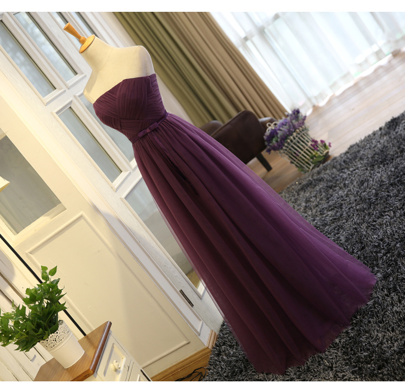SOCCI Weekend Strapless Purple Long Evening Dress Charming Tulle Burgundy Evening Gown Formal Wedding Reception Vestido de Longo 8