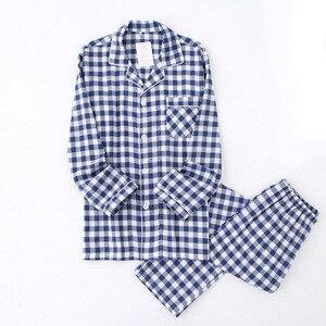 Image 5 - Lovers Spring New Pajama Set Plaid 100%Gauze Cotton Men And Womens Couple Sleepwear Turn Down Collar Household Wear Casual Wear