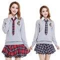 Venta caliente de La Nueva Alta Escuela de Niñas Uniforme Escolar Uniforme de Marinero Japón Corea Camisa de Manga Corta Falda A Cuadros Con Suéter