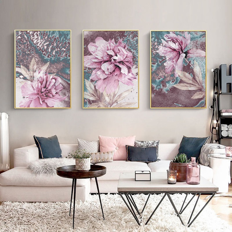 Scandinavian Poster Decorative-Pictures Flowers Abstract-Painting Nordic-Decoration Wall-Art