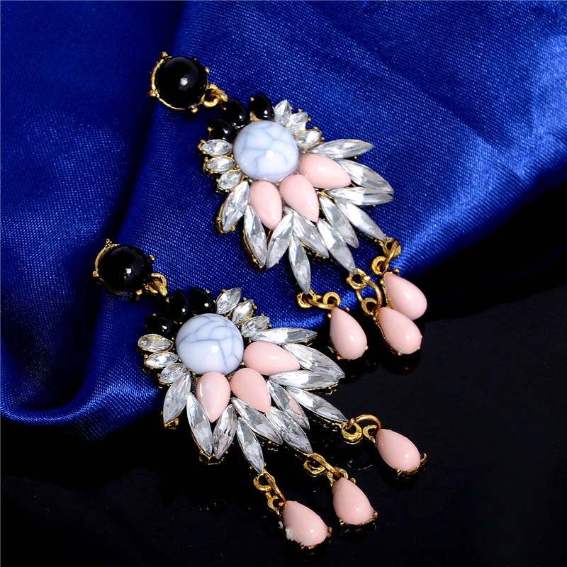 SHUANGR Antique Gold Color Bohemia Flower Colorful Beads Tassel Vintage Earrings For Women Teens Girls New Jewelry Bijouterie