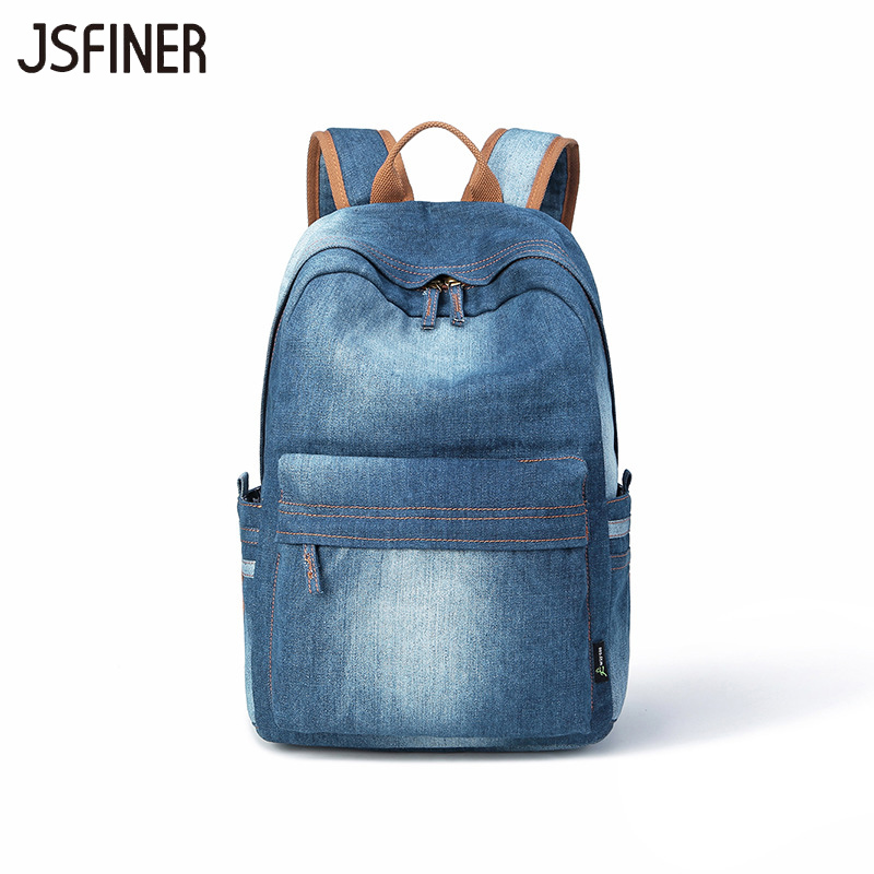 2018 New Women Backpack Denim Soft Outdoors Fashion Light Schoolbag Personality Below 20 Litre Wear-resisting Student Backpacks