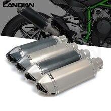 31mm 51mm tubo de escape da motocicleta moto bicicleta pot escape esporte escape para kawasaki er6n z 650/750/900/1000/800 versys 650