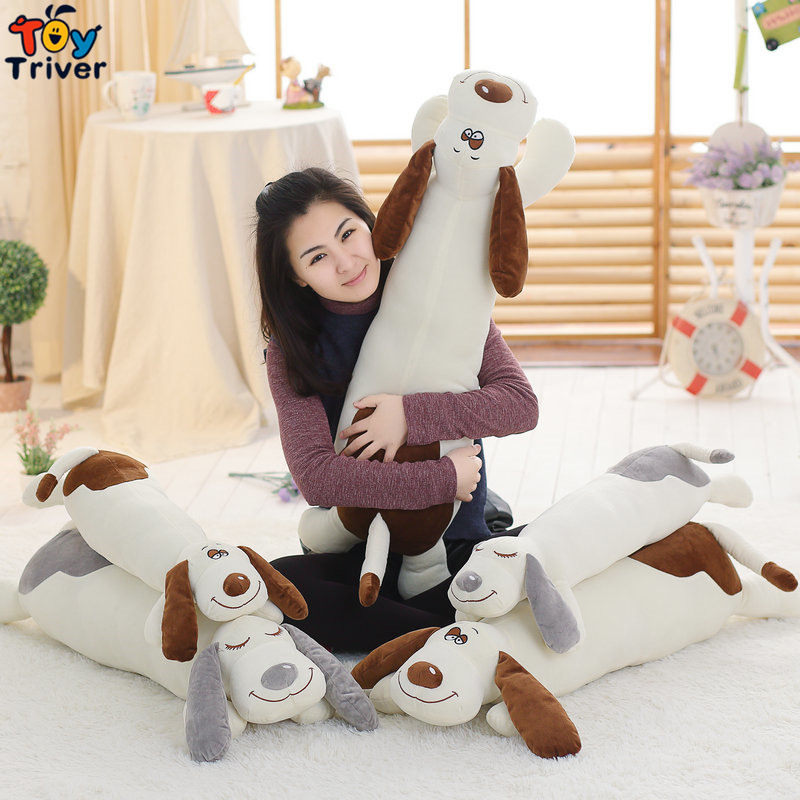 Cute Lie Prone Dog Long Pillow Cushion Bolster Plush Toy Stuffed Doll Baby Kids Friend Birthday Gift Home Shop Decor Triver 45cm cute dog plush toy stuffed cute husky dog toy kids doll kawaii animal gift home decoration creative children birthday gift