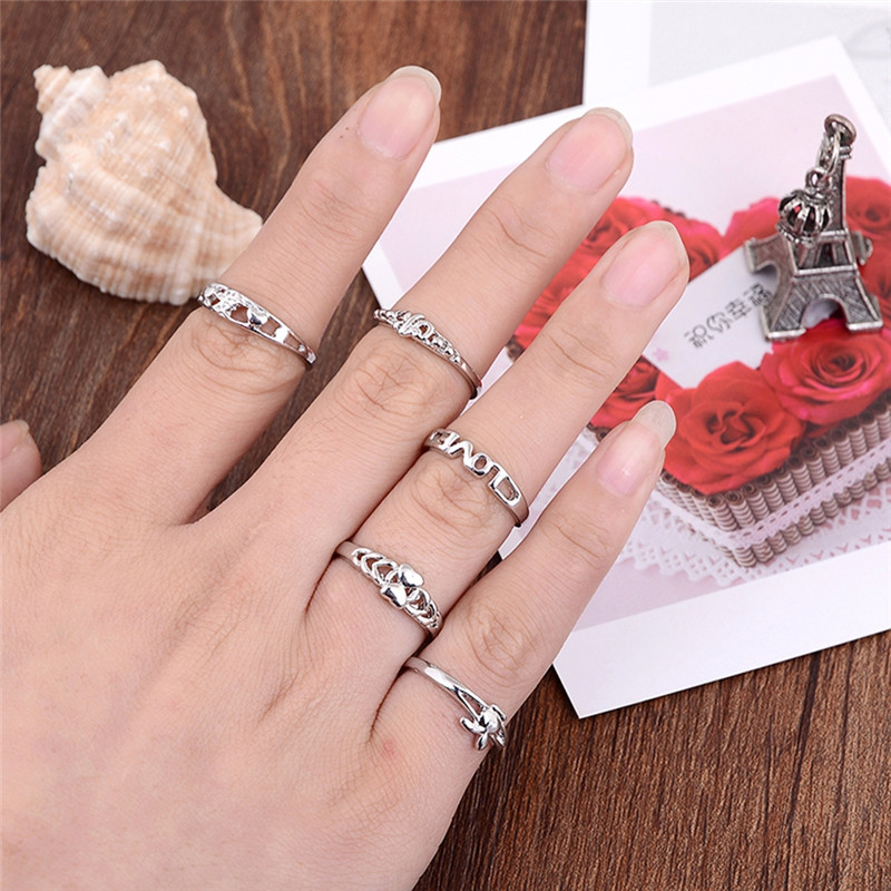 10pcs/set Silver Color Love Heart Band Crystal Rings Wholesale Multi Design Finger Rings Fashion Women Ring Jewelry