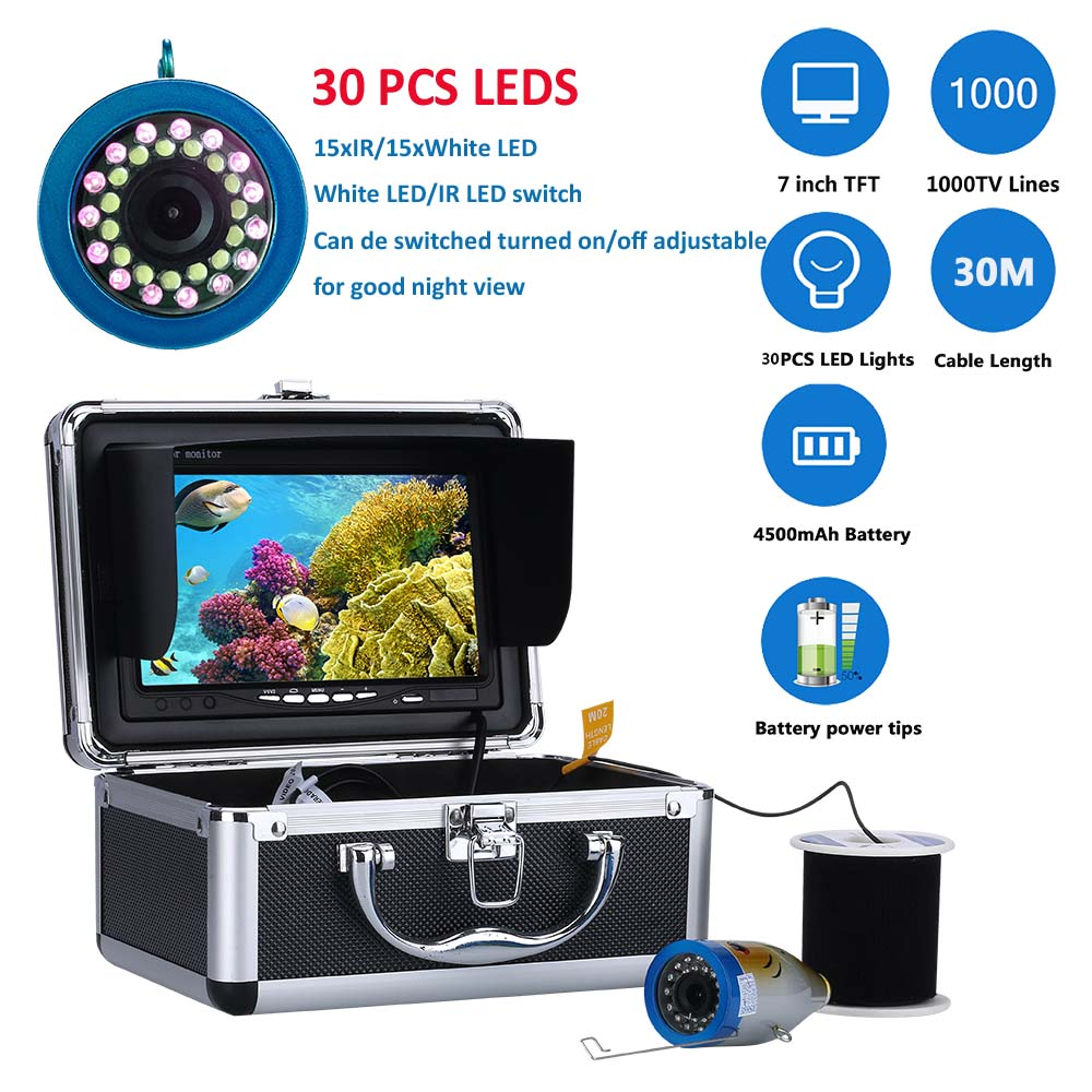 "GAMWATER Double Lamp 30 LEDs 7"" Inch 15M 30M 50M 1000TVL Fish Finder Underwater Fishing Camera 15pcs White LEDs + 15pcs IR LED Fish Finders     - title="