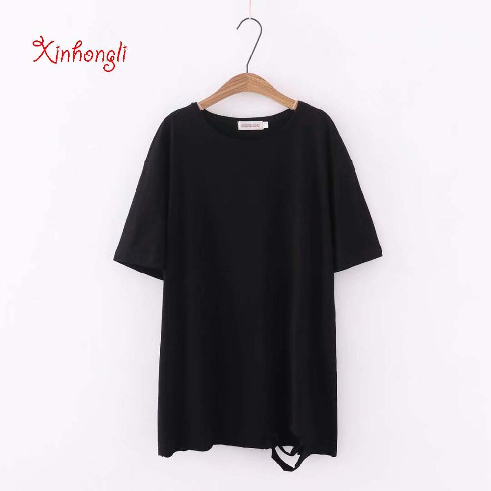 Plus size hole loose women Tshirts 2019 Summer casual ladies O-neck short sleeve T-shirts female tees tops solid white T shirts