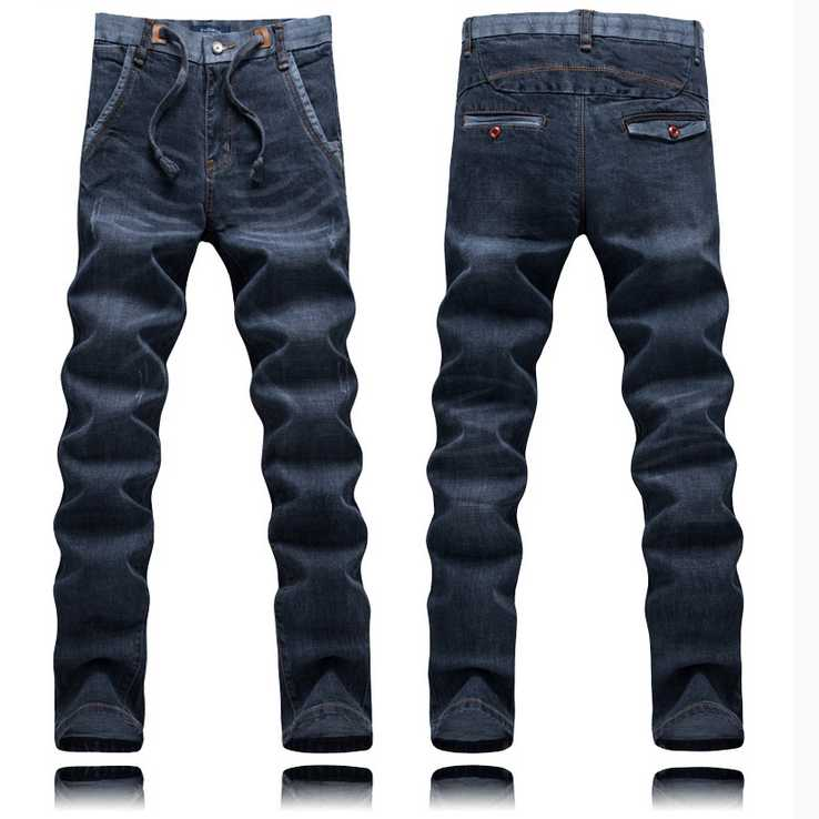 Spring male blue elastic waist jeans male slim skinny casual long trousers male