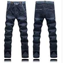 Весна мужской синий Джинсы с эластичной резинкой на талии мужчины тонкие узкие повседневные длинные штаны мужские