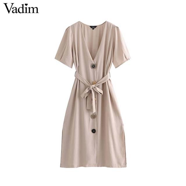 Vadim femmes vintage V cou solide robe boutons bow tie ceintures à manches courtes côté de split femme midi robes robes mujer QA510