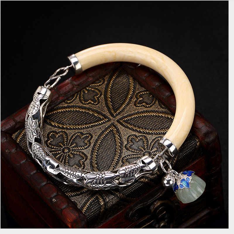 Uglyless Real 925 Sterling Zilver Natuur Jade Lotus Armbanden voor Vrouwen Asymmetrische Charms Armband Hollow Ivoor Moer Dikke Bangle