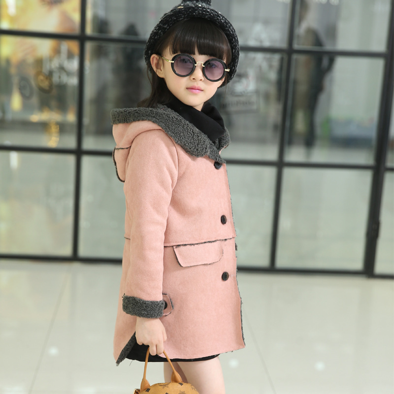 2016 Children Winter Jackets New Girls Long Style Outerwears Baby Warm Faux Suede Jackets Toddler Cotton