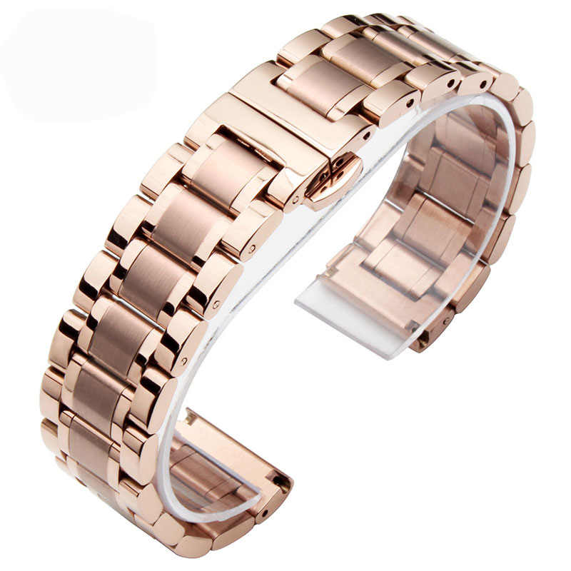 Padat Stainless Steel Watchbands Rose gold 14mm 20mm lady Logam Watch Band Strap Wrist Watches Gelang Berlaku untuk Swatch, Follie.