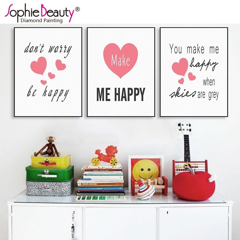 Sophie Beauty New Diy Diamond Painting Cross Stitch Handcraft Embroidery Red Heart Happy Word Poster Arts Needlework Mosaic Kit