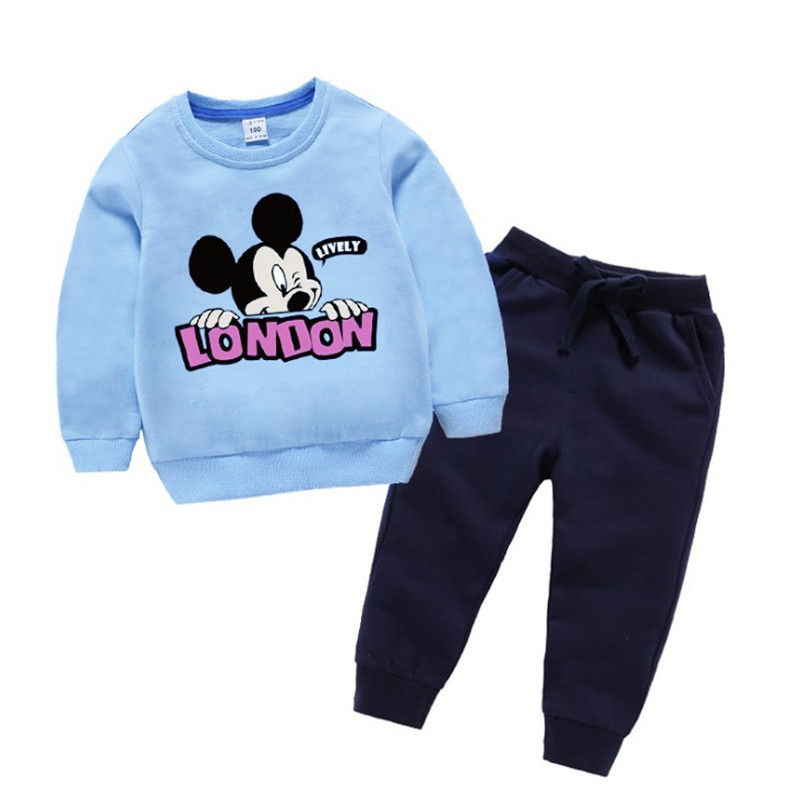 Baby boys sweatshirt + pants Fall Spring minnie mickey mous cartoon girls 2 pcs set kids suit children casual clothes 1 to 8 yrs