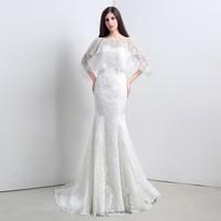 iLoveWedding Lace Mermaid/Trumpet Wedding Dresses Women Vestido De Noiva 2015 Vintage Bohemian Ivory Bridal Dresses Gowns 28108