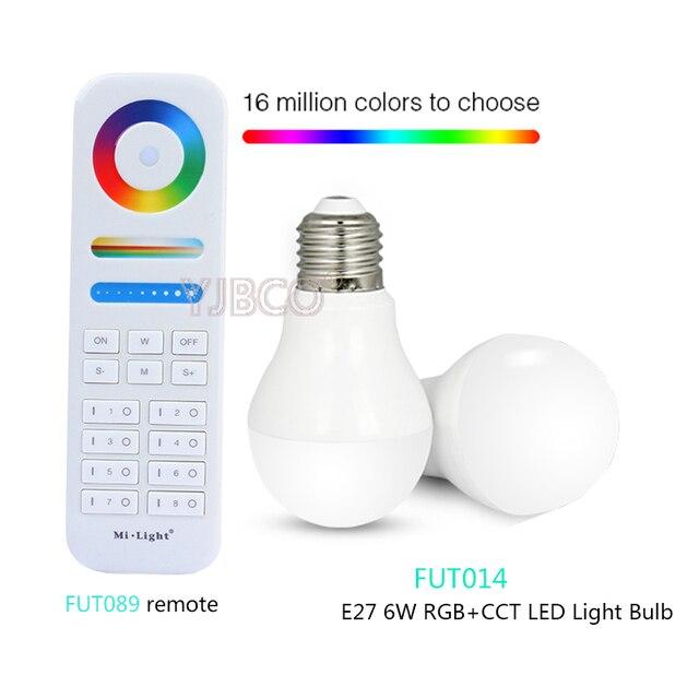 Milight E27 6 Вт RGB + CCT светодио дный лампы AC86-265V; FUT089 8-зоны RGB + CCT пульт дистанционного управления