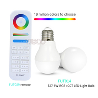 Milight E27 6W RGB+CCT LED Bulbs AC86-265V;FUT089 8-Zone RGB+CCT Remote Controller