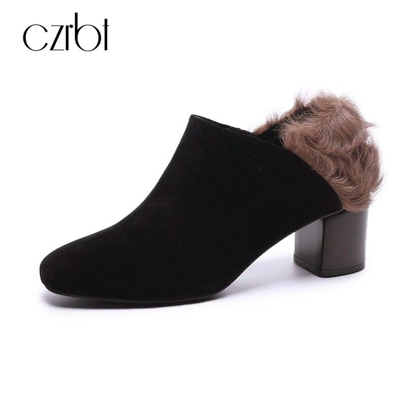 CZRBT Натуральная кожа женщин мода туфли Осень Зима высокий каблук мулы обувь овечьей шерсти сплошной Цвет толстый каблук туфли на высоких каблуках