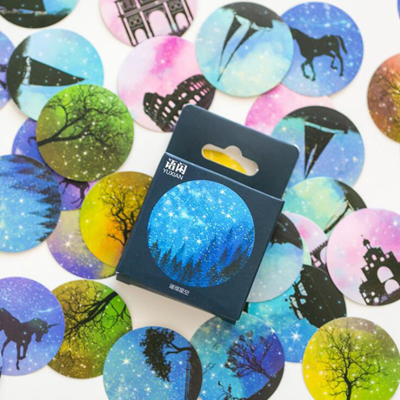 50 / Box Creative Starry Sky Label Printing Gift Round Stickers Decorative Gifts Diy Stationery Office Learning Sealing Stickers