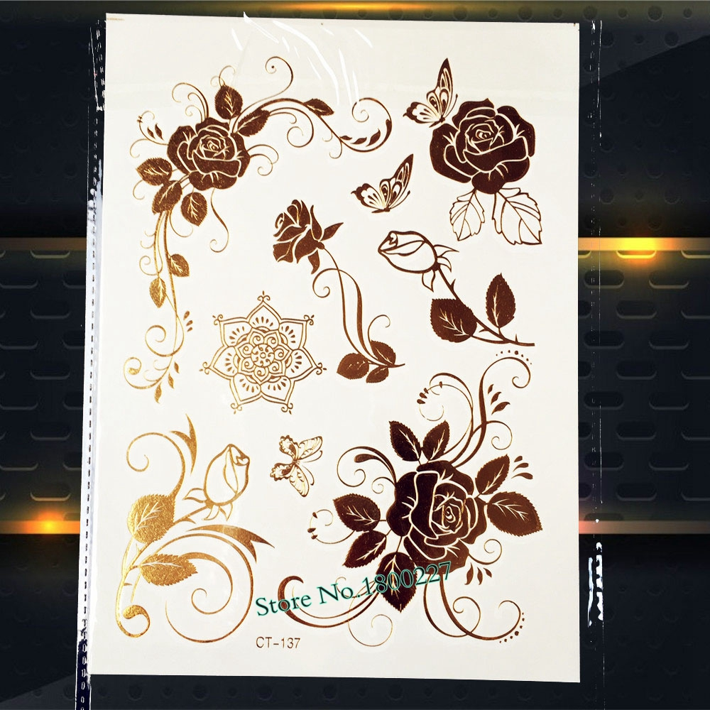1pc 3d Removable Waterproof Tattoo Sticker Henna Gold Rose Flower