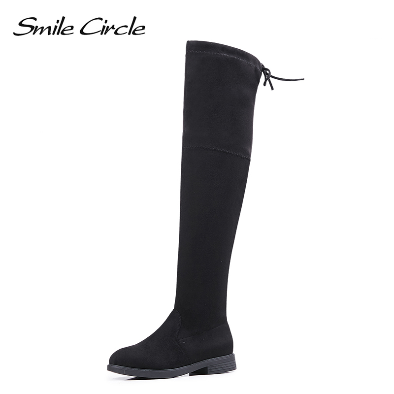 Smile Circle Autumn Winter Boots Women Thigh High Boots Women Over the Knee Boots Faux Suede Boots Fashion Slip on Flat Shoes