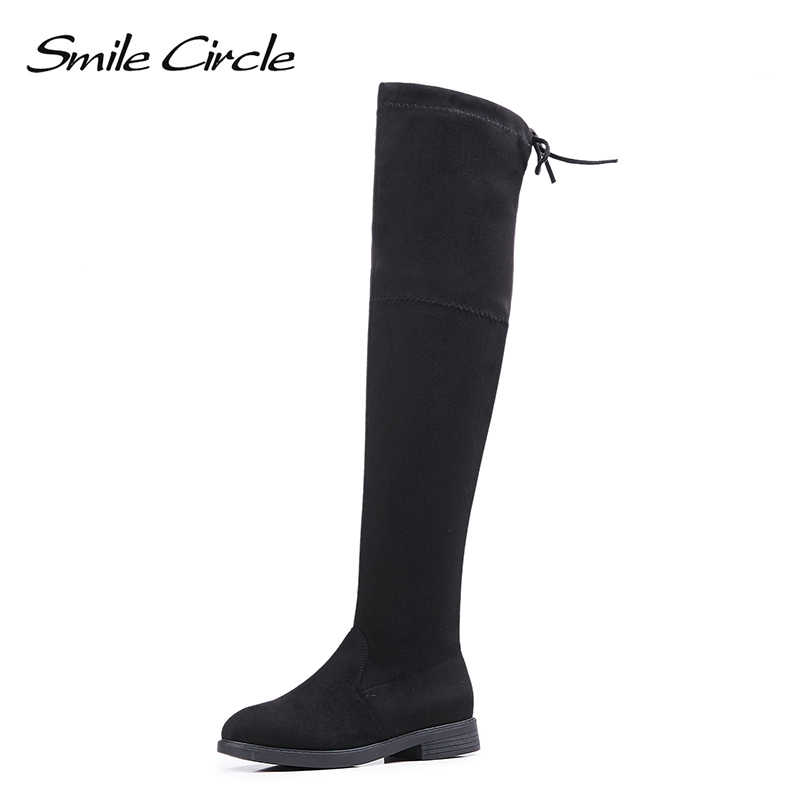 608a0bb2321b Smile Circle Autumn Winter Boots Women Thigh High Boots Women Over the Knee  Boots Faux Suede