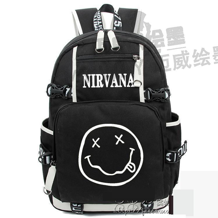 New Nirvana Smiley Face Kurt Cobain Backpack Nirvana Rock Band Computer School Bag Teenage Girl Backpacks Women Men Travel Bag