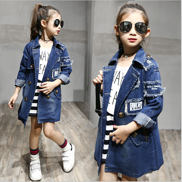New Girls denim Jackets Fashion Double-Breasted Denim Coats New Kids Trench Coat For Girl Long Jackets Autumn Children Clothing