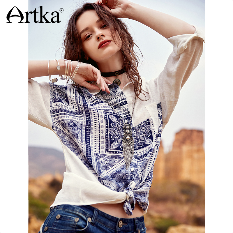 ARTKA 2018 Autumn New Women Vintage Print Full Sleeve Turn-down Collar Single Breasted   Blouse     Shirts   SA11389C