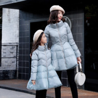 Family Look Matching Mother Daughter Cotton Parka Coat Mom and Daughter Down Jackets Long Dress Winter Family Matching Outfits