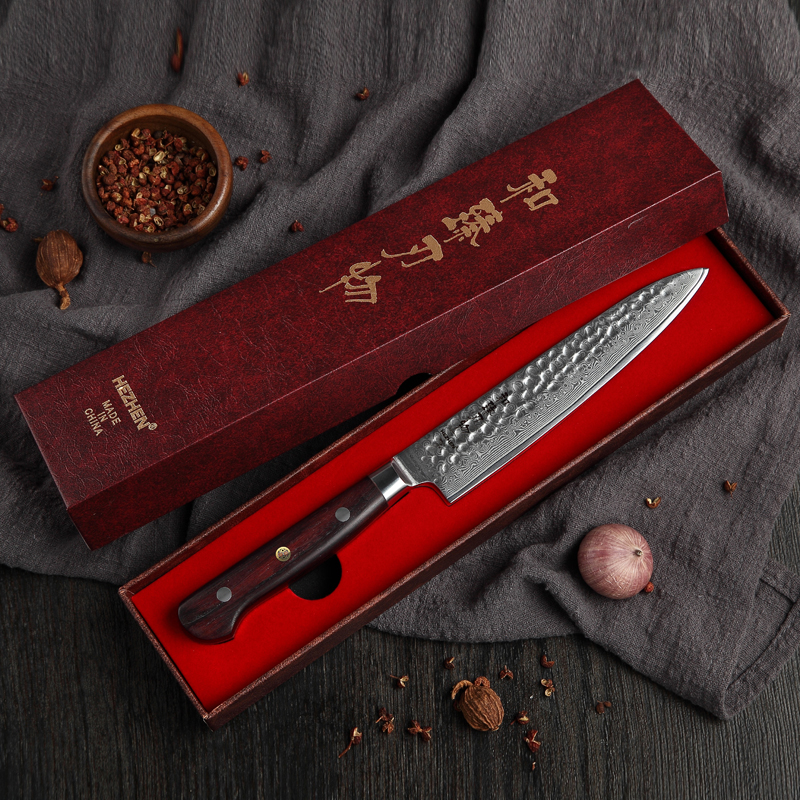 HEZHEN 6 inch Utility Knife High Carbon Damascus Stainless Steel Fruit Knife with Madagascar Dalbergia Handle
