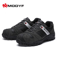 Modyf Mens Steel Toe Cap Work Safety Shoe Boots Genuine Winter Autumn Work Motorcyle Ankle Boot